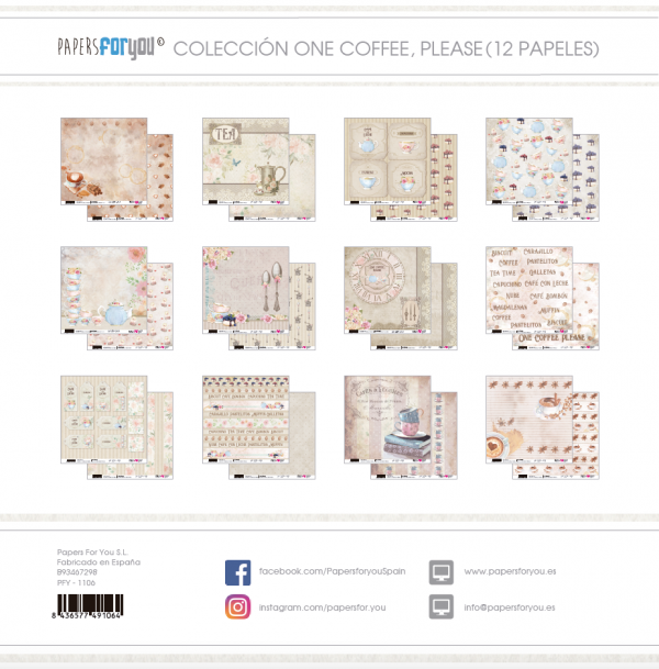 COLECCION 12 PAPELES ONE COFFEE PLEASE