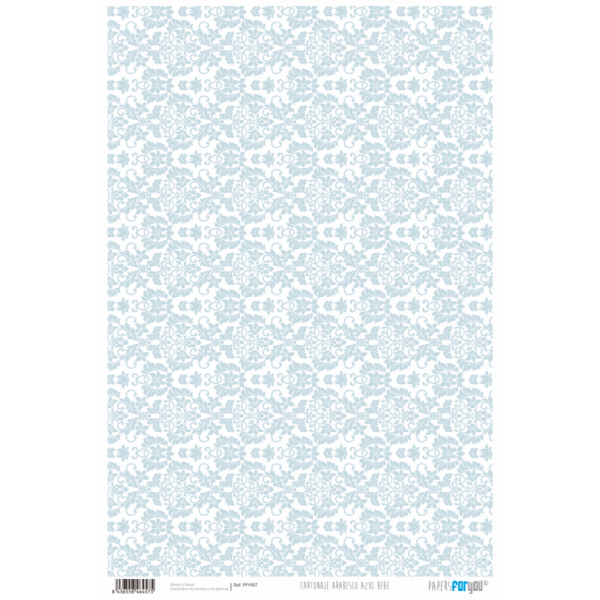 PAPEL CARTONAJE ARABESCO AZUL BEBE