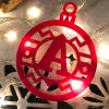 Bolas de Navidad de metraquilato rojo con lazo personalizadas