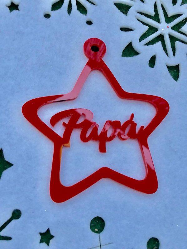 Estrellas de Navidad de metraquilato rojo personalizadas