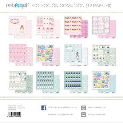 COLECCION 12 PAPELES SCRAP COMUNION