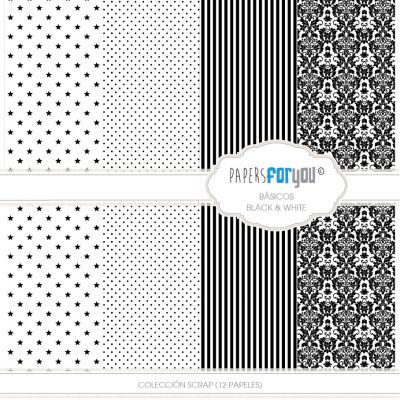 COLECCION 12 PAPELES SCRAP BLACK AND WHITE