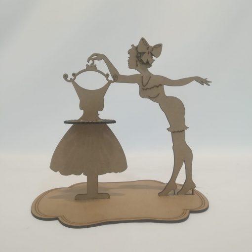 Mujer servilletero de madera