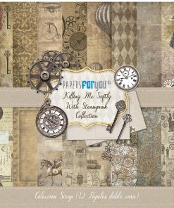 COLECCION 12 PAPELES SCRAP KILLING ME SOFTLY WITH STEAMPUNK