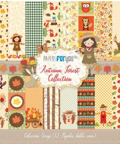 COLECCION 12 PAPELES SCRAP AUTUMN FOREST